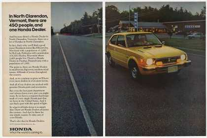 Honda CVCC North Clarendon VT Dealer Photo (1977)