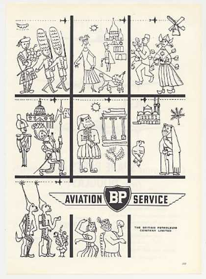 BP Aviation Service Country Cartoon Drawing art (1955)