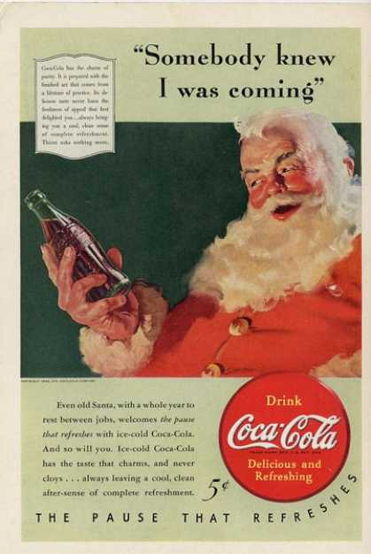 Coca Cola Coke Bottle Cap Santa T (1940)