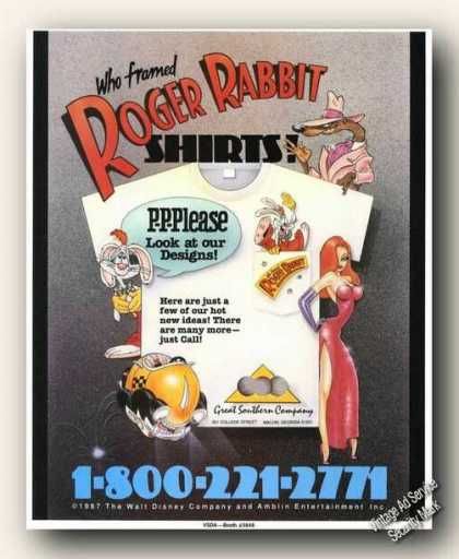 Roger Rabbit Graphics Shirt Designs (1988)