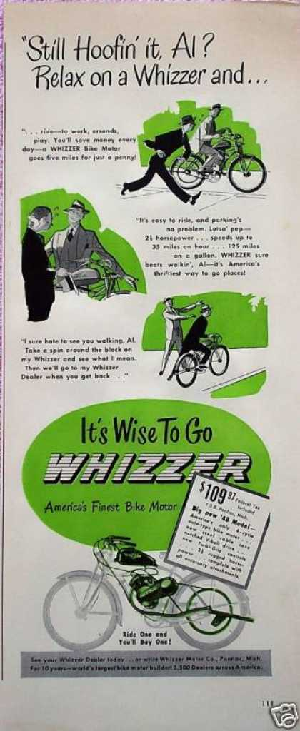 Whizzer Bike Motor Bicycle Still Hoofin' It Comic (1948)