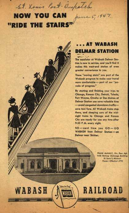 "Wabash Railroad's Delmar Station – Now You Can ""Ride the Stairs""...At Wabash Delmar Station (1947)"