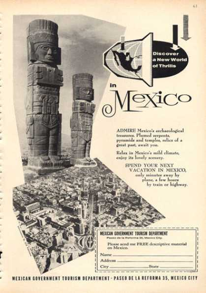 Mexico Tourism Ad Archaeological Treasures (1960)