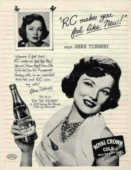 Gene Tierney Photo Royal Crown Cola Rc (1951)