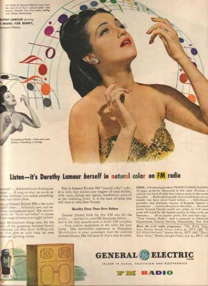 General Electric Radios – Dorothy Lamour (1945)