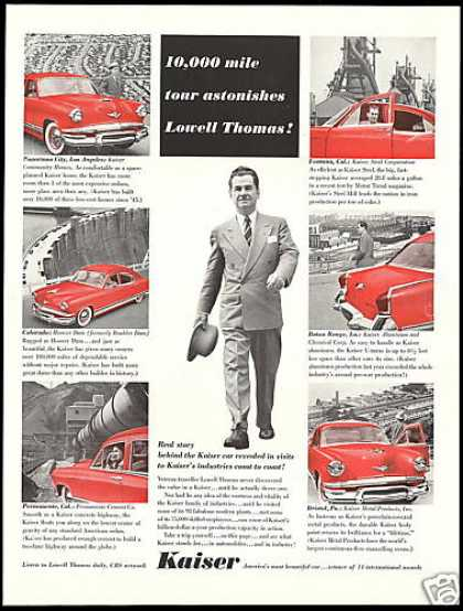 Lowell Thomas Travel Kaiser Car Photo (1954)