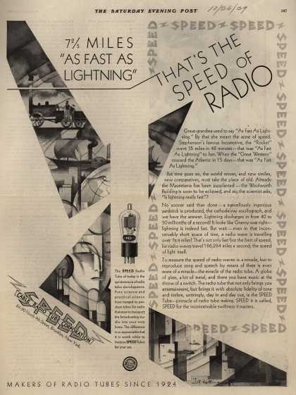 "Cable Radio Tube Corporation's Radio Tubes – 7 2/5 Miles ""As Fast As Lightning"" That's The Speed Of Radio (1929)"