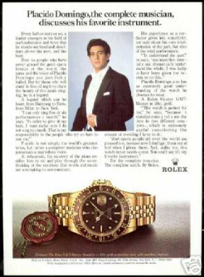 Rolex GMT Master Watch Photo Placido Domingo (1984)