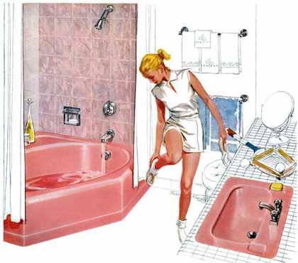 Mayflower enameled iron bath and Arrowhead vitreous china lavatory in Peachblow Kohler of Kohler, Robert Krantz (1959)