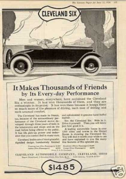 "Cleveland Six Car Ad ""It Makes Thousands.... (1920)"