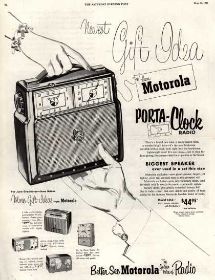 Motorola's Porta-Clock Radio – Newest Gift Idea from Motorola (1953)