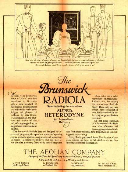 Aeolian Company's Brunswick-Radiola Sets – The Brunswick Radiola sets including the marvelous Super Heterodyne for immediate delivery. (1925)