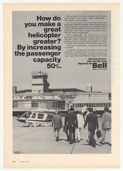 Bell LongRanger Helicopter Businessmen Photo (1974)