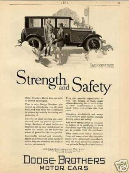 "Dodge Brothers Car Ad ""Strength and Safety... (1926)"