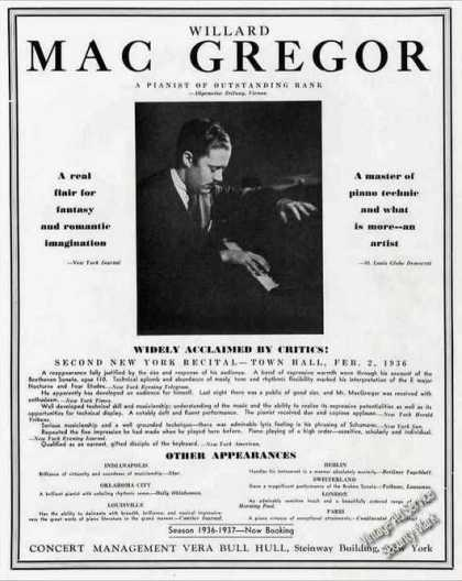 Willard Mac Gregor Photo Pianist Trade (1936)