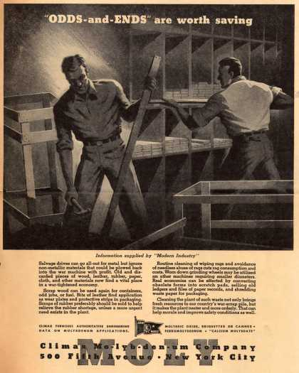 "Climax Molybdenum Co.'s Scraps – ""Odds-and-Ends"" are worth saving (1943)"