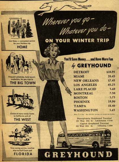 Greyhound's Various destinations – Wherever you go- Whatever you do- On Your Winter Trip (1947)