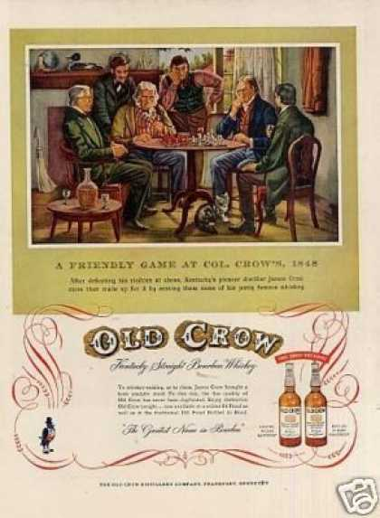 "Old Crow Bourbon Whiskey Ad ""A Friendly Game... (1954)"