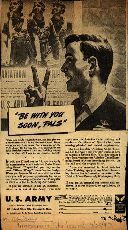 "U. S. Army's Aviation Cadet Training – ""Be With You Soon, Pals"" (1943)"