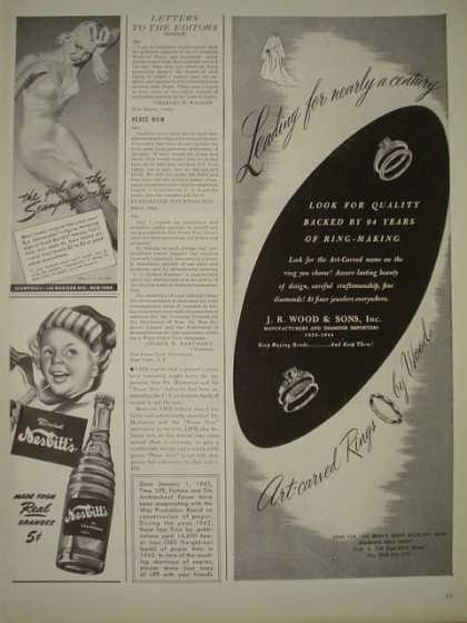 J.R. Woods and Son Artcarved rings AND Nesbitts soda (1944)