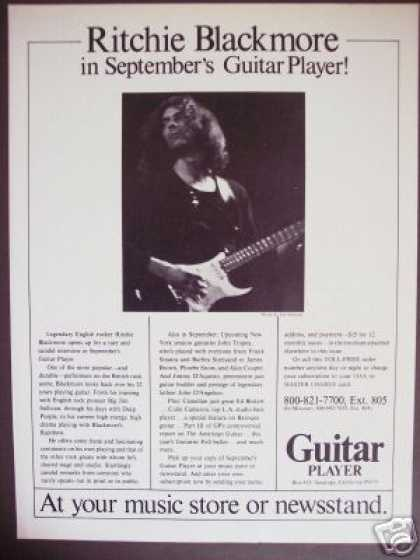 Ritchie Blackmore Photo Guitar Player Mag Promo (1978)