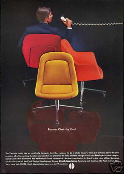 Max Pearson Design 3 Chair Knoll Vintage Photo  1969. Vintage Furniture Ads of the 1960s