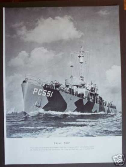 Leathem Boat Ship Pc 551 Trial Run Photo (1942)