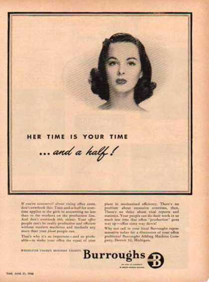 Burroughs Business Machines – Her Time is Time and a Half – Sold (1948)