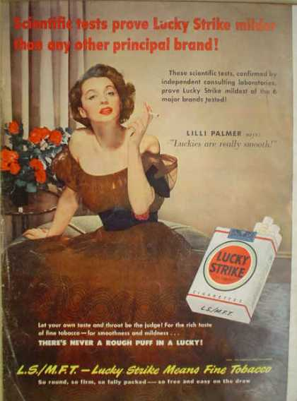Lucky Strike Cigarettes Lilli Palmer Milder than others (1950)