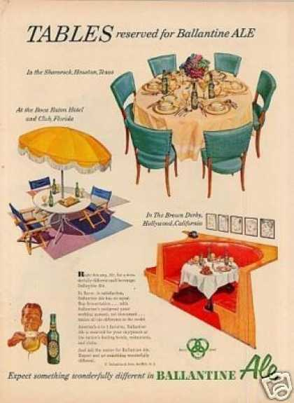 "Ballantine Ale Ad ""Tables Reserved... (1953)"