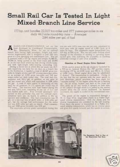"""Small Rail Car Tested In Light Service"" Article (1939)"