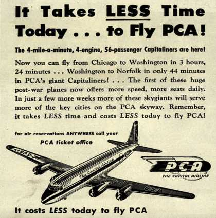 PCA's Capitaliners – It takes less time today... to fly PCA (1946)