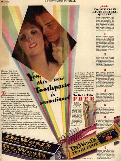 Western Company's Dr. West's Tooth Paste – Yes, this new Toothpaste is sensational (1929)