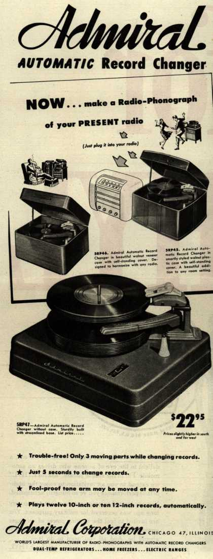Admiral Radio's Radio – Admiral automatic Record Changer (1945)