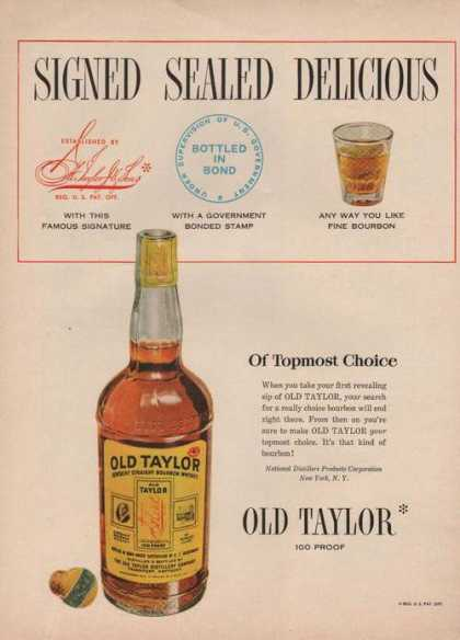 Old Taylor Signed Sealed Delicious Whiskey (1950)