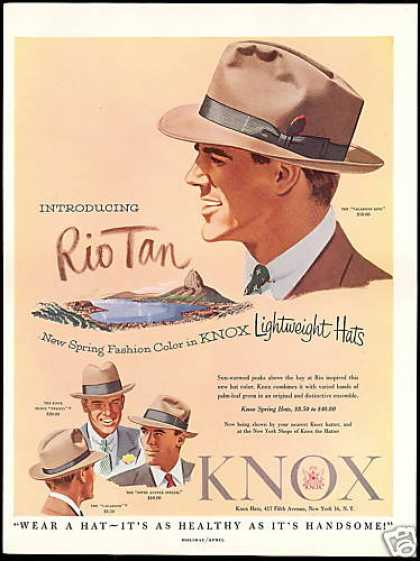 Knox Mens Lightweight Hats Healthy Handsome (1953)