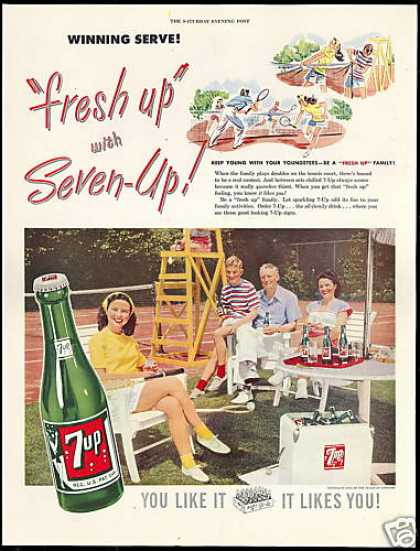Tennis Court Photo Seven 7-up 7up Winning Serve (1948)