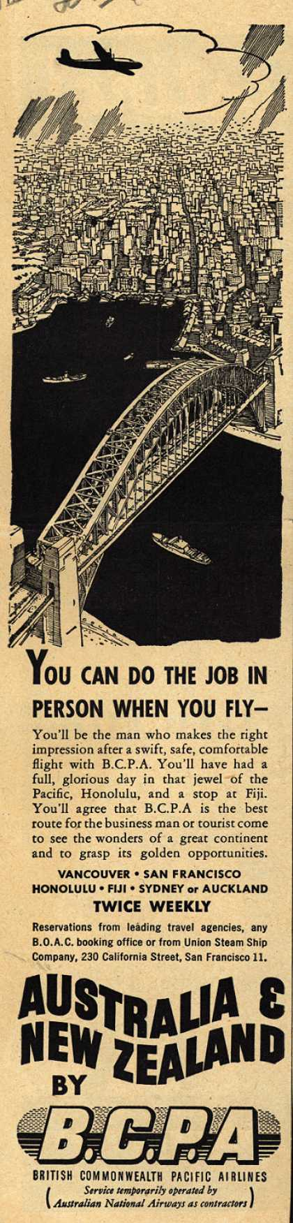 British Commonwealth Pacific Airlines, Limited's Australia and New Zealand – You Can Do the Job in Person When You Fly- (1948)