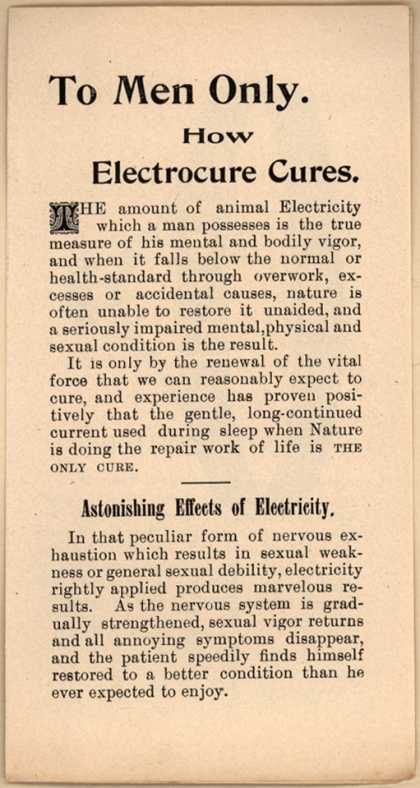 American Electrocure Company's Electrocure – To Men Only: How Electrocure Cures