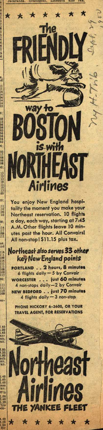 Northeast Airline's Boston – The FRIENDLY way to BOSTON is with NORTHEAST Airlines (1952)