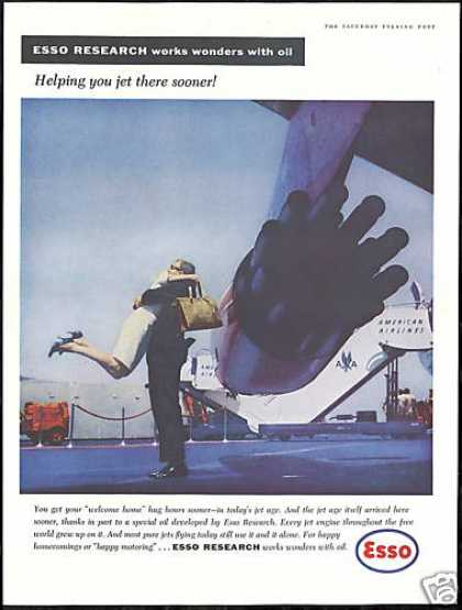 American Airlines Plane Photo Esso Research Oil (1959)