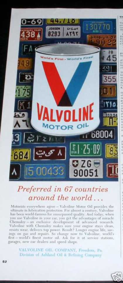 Valvoline Motor Oil, Preferred (1964)