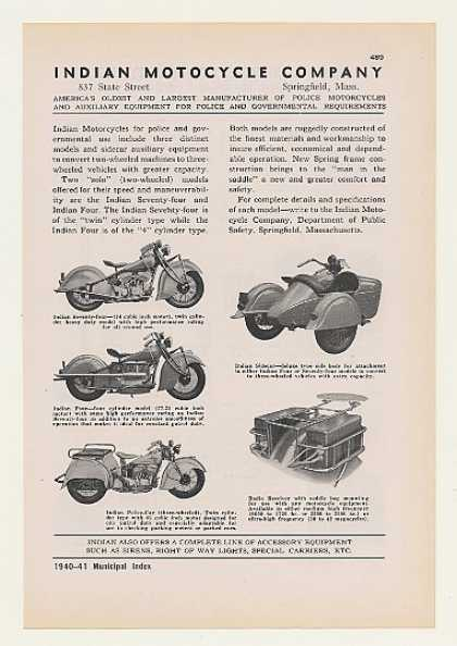 Indian Seventy-Four Four Police Motorcycles (1940)