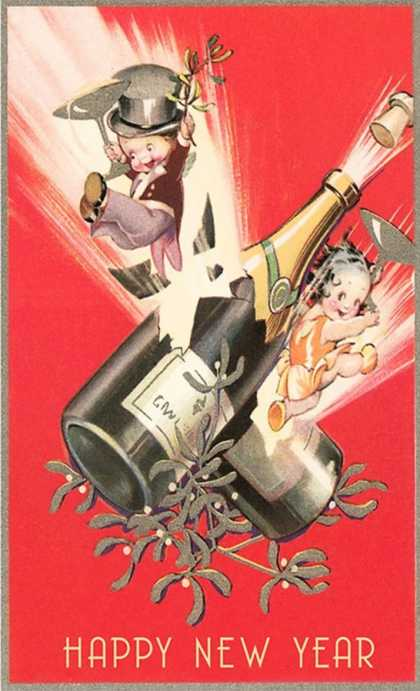 Cartoon Children with Champagne Bottles