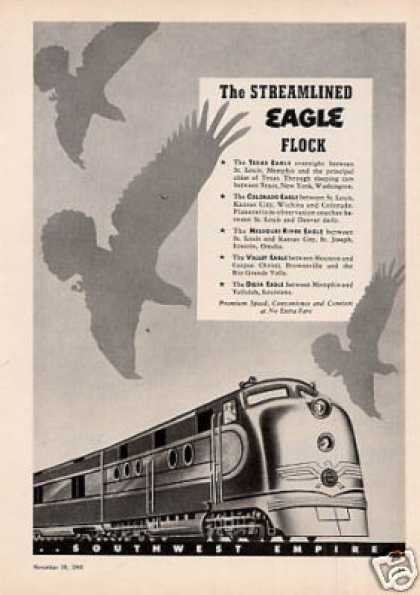 Missouri Pacific Railroad Ad Streamlined Eagle (1949)
