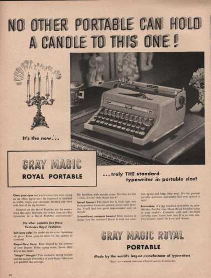 Portable Typewriter Gray Magic Royal (1949)
