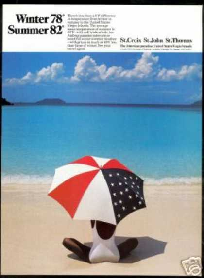 U.S Virgin Islands Umbrella Woman Photo Travel (1989)