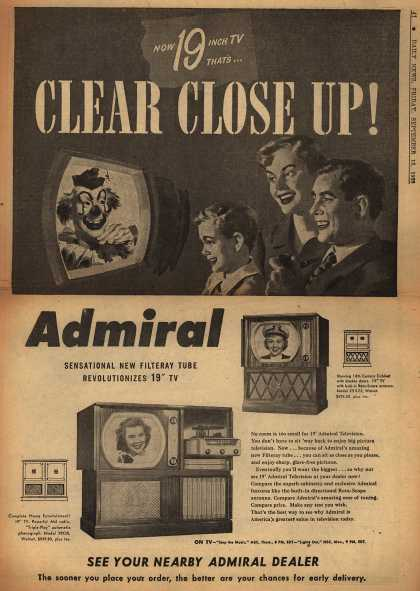 "Admiral Corporation's 19"" television with filteray tube – Now 19 Inch TV That's Clear Close Up (1950)"