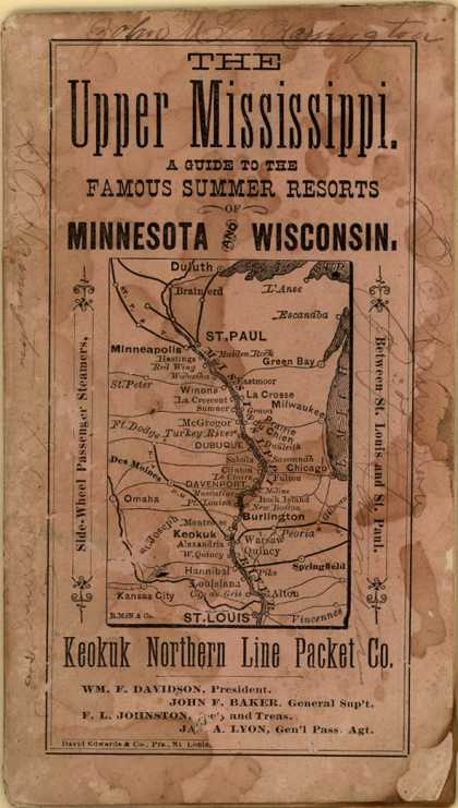 Keokuk Northern Line Packet Co.'s railway – The Upper Mississippi: A Guide to the Famous Summer Resorts of Minnesota and Wisconsin