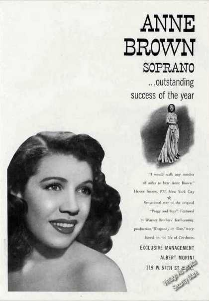 Anne Brown Photos Soprano Collectible Booking (1944)